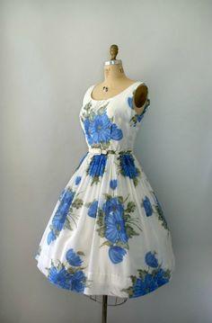 A gorgeous blue floral vintage frock!