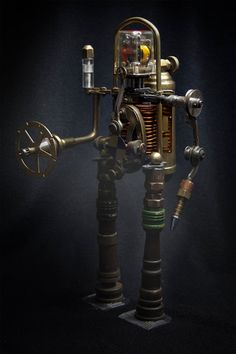 Steampunk Robot sculpture. Found objects. Science fiction. Sci Fi, atomic, futuristic on Etsy, $425.00  ✯ ⚔ ✯