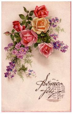 Vintage Roses Postcard ~ Magic Moonlight Free Images