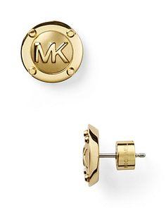 Michael Kors MK Gold Button Earrings