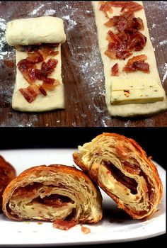 Bacon and Pepper Jack Croissants recipe. Great with crescent roll dough too! I just wonder if you HAVE to use Pepper Jack . Bacon Recipes, Appetizer Recipes, Snack Recipes, Cooking Recipes, Appetizers, Cooking Food, Cooking Tips, I Love Food, Good Food