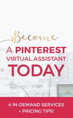 Want a fun work from home job? See how you can become a Pinterest virtual assistant today! This post goes over some important skills & services as well as how to calculate your rate as a new Pinterest VA. Click through to start your virtual assistant journey today! #aff