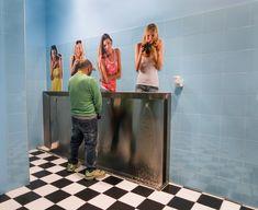 by Giorgio Toniolo Pub Design, Restaurant Design, 3d Street Art, Garage Guest House, Graffiti Murals, Toilet Design, Bathroom Design Luxury, Bathroom Humor, Creative Advertising