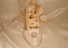 Champagne And Lace Ballet Slippers Wedding Shoes by AJuneBride