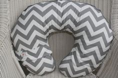 Gray and White Chevron and White Minky Boppy by DesignsbyChristyS, $30.00