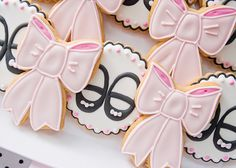 Adorable bow and Mary Jane cookies at a Pink and Black Little Lady Party #pinkblack #littlelady