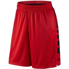 "Nike Men's Elite Dri-fit Basketball 9"" Shorts ($45) ❤ liked on Polyvore featuring men's fashion, men's clothing, men's activewear, men's activewear shorts and university red"
