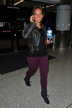 Alicia Keys street style - cropped biker jacket and leggings
