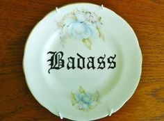 Badass hand painted vintage plate with hanger by trixiedelicious