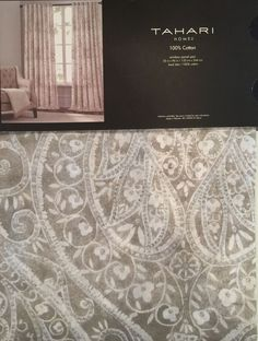 New Tahari Taupe Tan Silver Paisley Medallion Window