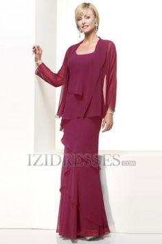 Sheath/Column Scoop Chiffon Mother Of The Bride Dress - IZIDRESSES.COM