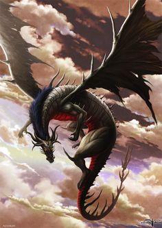Soaring Dragons, dragon, wings, gorgeous, beautiful, clouds, flying, fantasy art.