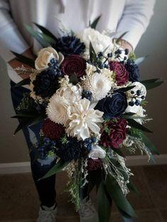 415ff9c79b55e Cascade Burgundy Wine Navy Faux Wedding Bouquet Sola Wood Flowers and dried  Flowers Greenery Eucalyptus Style 208