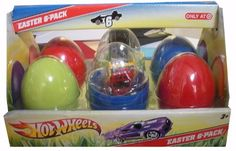Hot Wheels 6 Car Easter Gift Pack Set / Limited Edition Target Exclusive / Look for Hunt Chaser Cars.INCLUDES 6 RANDOME ASSORTED HOT WHEELS INSIDE EASTER EGGS.COMES INSIDE AN EXCLUSIVE EASTER GIFT B...
