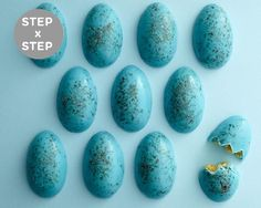 Make these crazy easy Blue Speckled Cake Eggs with just a few ingredients and without turning on the oven. Perfect for an Easter treat! | Cakegirls Tutorials