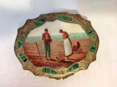 SOLD! SOLD! SOLD!  Gold over Sterling Silver Vermeil 800 hand enameled compact w/ inlay malachite