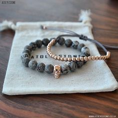 Rose Gold Skull & Grey Jasper Charm Bracelet X Rose Gold Balls Bracelet ⠀⠀⠀⠀⠀⠀⠀⠀⠀ The unique and charming designs… Bracelets For Men, Silver Bracelets, Gemstone Bracelets, Jewelry Bracelets, Pandora Bracelets, Jewelry Holder, Ankle Bracelets, Rose Gold Jewelry, Beaded Jewelry