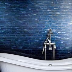 Marazzi Catwalk Random Sized Glass Mosaic Tile in Blue Ballet