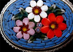 Vintage Micro Mosaic Large Brooch Oval Italian Italy Floral Pin Estate Marked   eBay
