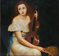 Claude Buck (American artist, 1890–1974) Seated Woman with Violin
