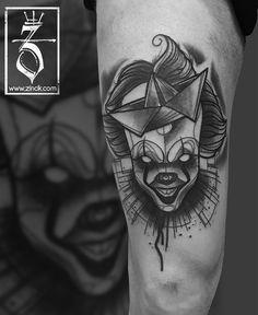 Tattoo Zincik - Czech Tattoo Artist, IT Pennywise Dancing clown, abstract tattoo, Tetování na stehno