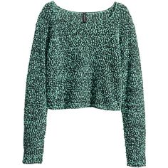 H&M Jumper ($11) ❤ liked on Polyvore featuring tops, sweaters, shirts, jumpers, mint green, cropped sweater, long sleeve sweater, loose sweater, loose shirt and crop shirt