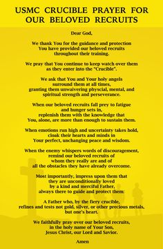 usmc crucible prayer for our beloved recruits Marine Mom Quotes, Usmc Quotes, The Crucible Marines, Boot Camp Quotes, Camp Letters, Marines Boot Camp, Marine Sister, Marines Girlfriend, Navy Girlfriend