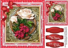 Beautiful Christmas Poinsetias on lace  on Craftsuprint designed by Ceredwyn Macrae - A lovely card to make and give to anyone with Beautiful Poinsettias on lace has two greeting tags and a blank one  - Now available for download!