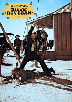THE LIFE AND TIMES OF JUDGE ROY BEAN (1972) - Paul Newman as 'Judge Roy Bean' personally administers a hanging sentence - Directed by John Huston - First Artists - German Lobby Card.