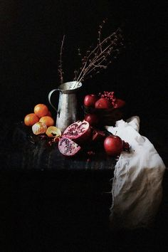 """Oatgasm: Pomegranate Chia Seed Parfaits in a """"chiaroscuro"""" food photography.:"""
