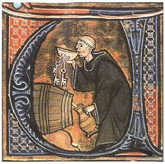 "Wine culture: Dating from the 13th century, the image shows a Benedictine monk engaged in the partaking of a few jugs. http://www.hitnerwine.com/Monk%20-%20cellar%20taster.jpg Thanks to:  ""For love of everything that is wine"""