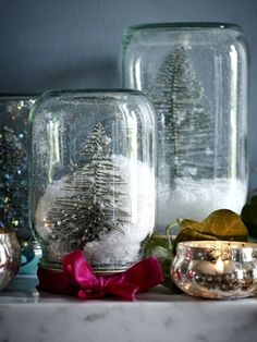 Glass jar Christmas snow globes with artificial snow and mini pine trees