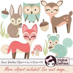 Amigos de bosque arbolado vivero Clipart, bebé animales Clip Art, bebé ducha, zorro, Búho, conejo y más! de DigitalDollface en Etsy