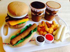 Pretend Felt food Play food  Big Hamburger & Hot by TomomoHandmade, $50.00