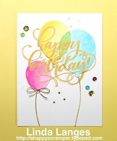 SSS Balloon Dies; MFT Party Balloon Dies; Zig Clean Colour Real Brush Pens; Mama Elephant Birthday Wishes Stamp Set; Gold.