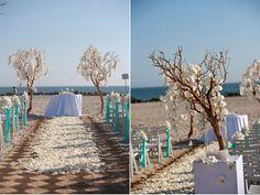 Stunning Manzanita Branches frame this beautiful beach wedding aisle  #wedding #beach #manzanita