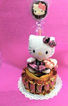 #regalos Amer. Pashmina decorada como #pastel con #chocolates y con #mamut decorado de #kitty y su peluche.#envíos a domicilio  55246977