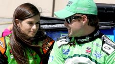 SONOMA, CA - JUNE 21:  (L-R) Danica Patrick, driver of the #10 GoDaddy Chevrolet, and Ricky Stenhouse Jr., driver of the #17 EcoPower Oil Ford, speak on pit road during qualifying for the NASCAR Sprint Cup Series Toyota/Save Mart 350 at Sonoma Raceway on June 21, 2014 in Sonoma, California.  (Photo by Jerry Markland/Getty Images)