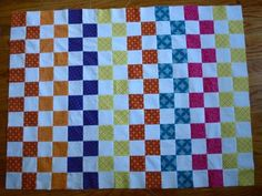 Scrap Quilt Pattern. Great idea to make the rows color coordinated...