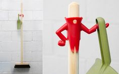 Other Home Cleaning Supplies Mr. Brooman Dustpan Holder & Broom Hanger Home Gift By Peleg Design Red & Garden Broom Hanger, Monkey Business, Neat And Tidy, Funko Pop Vinyl, Household Items, Home Gifts, Clean House, Elf On The Shelf, Cleaning Supplies