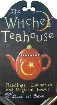"""Divination:  """"The Witches' Teahouse: Readings, Divination, and Magickal Brews"""" sign, by Carolee Clark, King of Mice Studio."""