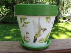 images of handpainted clay pots   Hand Painted Hummingbird Clay Flower Pot