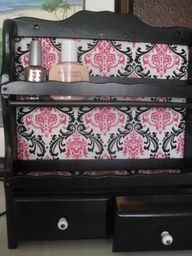 Nail polish/makeup/jewelry storage from an old spice rack - thrift store or yard sale find