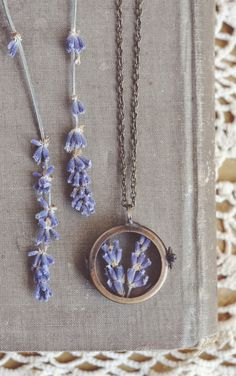 lavender shadowbox  necklace