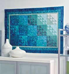 """""""Watercolors"""" quilt wall hanging - might be a nice accent for Hartmans guest room"""