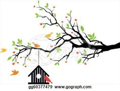 Bird house on spring tree,