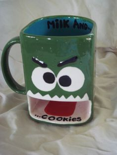 Milk and Cookies Monster  Mug by claytopia on Etsy, $22.00
