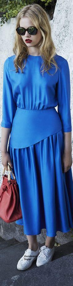Alena Akhmadullina Resort 2016 Look 21 on Moda Operandi Pleated Midi Dress, Draped Dress, Dress Skirt, Lace Dress, Knit Dress, Fashion Week 2016, Fashion 2020, Runway Fashion, Blue Fashion