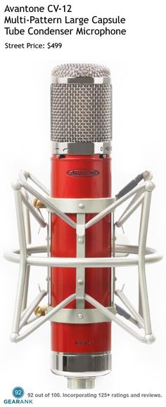 Avantone CV-12 Multi-Pattern Large Capsule Tube Condenser Microphone. This is one of the highest rated Studio Mics For Vocals under $500.