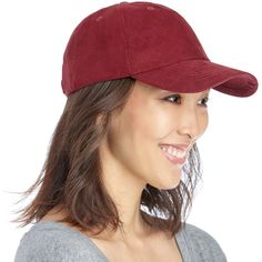 $15. Sole Society Suedette Baseball Cap featuring polyvore, women's fashion, accessories, hats, wine, baseball caps, ball cap, bills hats, ball cap hats and sole society